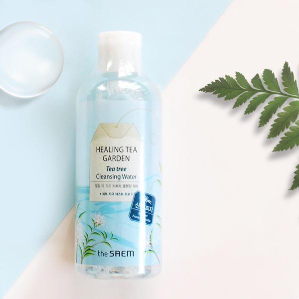 tay trang danh cho da nhay cam chiet xuat tram tra the saem healing tea garden - Review 4 loại nước tẩy trang The Saem giá rẻ mà chất lượng xịn sò